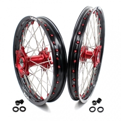 VMX ENDURO WHEELS SET FOR HUSQVARNA TE/TC/TXC/SMR 21/18 2000-2013 RED NIPPLE